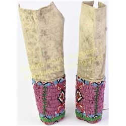"""Pair C. 1890's Norther Plains leggings 11"""" long showing fine condition, sinew sewn beadwork in class"""