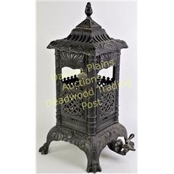 """Antique Vulcan 336 gas parlor stove cast iron on claw feet, Excellent and complete condition, 26"""" ta"""