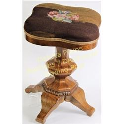 Victorian rosewood piano stool with swivel top, original needlepoint upholstered seat and finish. Gr