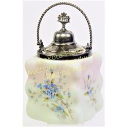 Original Wavecrest eggcrate pattern biscuit jar hand decorated and painted with silver plated handle