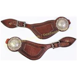 Very good pair Frank Schultz Victor, Montana stamped spurs with sterling engraved conchos.  Est. 350
