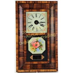 Antique E.N. Welch Ogee mantle clock 30 hour, reversse painted glass, Roman numeral metal dial, rose