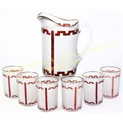 Beautiful ruby red to clear pitcher and tumbler set in Lorraine pattern, 6 tumblers total, C. 1890's