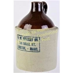 Antique stoneware whiskey advertising jug one gallon for H.W. Huguley Co. Boston, Mass. Very good co