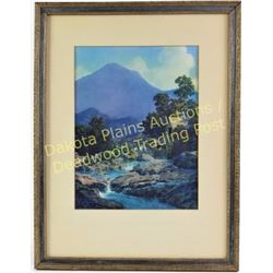 "Original Maxfield Parrish ""Rocks and Hills"" artwork in original frame, image 8"" X 11"", no fade shows"