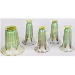 Collection of wonderful Arts & Crafts period ruffle edge signed Quezal lamp shades, beautiful green