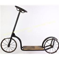 "Victorian period childs push scooter 35"" long, complete including steering wheel, rear fender and fl"
