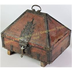 18th C. Alms or tithing box with peaked hinging top, hand wrought hardware and lock. Box further dec