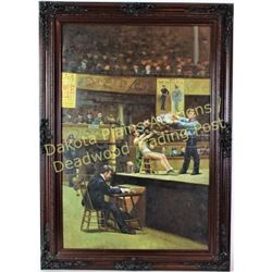 "Large giclée on canvas of an early boxing match in ornate wood frame, image 24"" X 36"".  Est. 250-450"