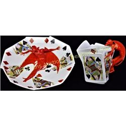 "Collection of 2 Royal Bayreuth porcelain pieces in Devil and card pattern, includes 7"" candy or nut"