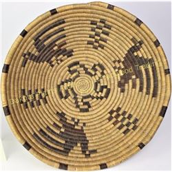 "Large pictorial Papago basketry tray 17"" diameter showing good overall, two light areas of loss at r"