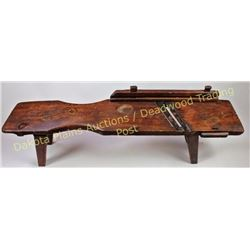 19th C. pine Kraut cutting bench with double steel blades, wood pegged guide set up for left or righ