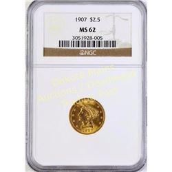 1907 Liberty Head Gold $2.5 MS 62 Est. 250-500