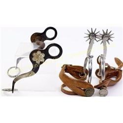 Collection of 2 includes Crockett bit with engraved silver and pair Bianchi stamped spurs with 1965