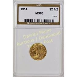 1914 Indian Head Gold $2.5 MS 63. Est. 600-1200