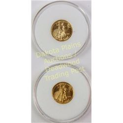 Collection of 2 Eagle Gold $5 gold coins dated 2001 and 2011.  Est. 150-300