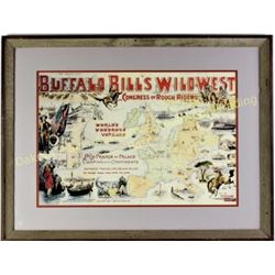 """Reproduction print of Buffal Bill Wild West show double matted and framed, image 16"""" X 23"""".  Est. 25"""