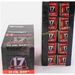 20 full boxes Hornady .17 HMR 20 grain ammo 1000 total rounds.  Est. 150-275