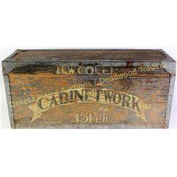 """Great wooden tool box with original painted """"Cabinet Work"""" """"H.W. Cofer"""" to the front, 11"""" X 15"""" X 34"""