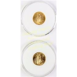 Collection of 2 Gold Eagle $5 coins dated 2002 and 2003.  Est. 150-300