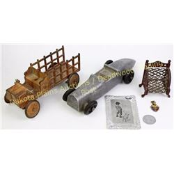 """Collection of 6 includes antique cast iron Army Motor Truck, 9"""" long, Cash bank, aluminum Speedster"""