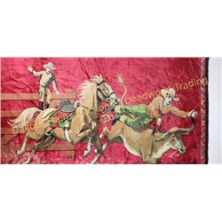 """Collection of 2 includes a minty vintage cowboy tapestry with sewn in rod loops at top, 48"""" X 72"""", a"""