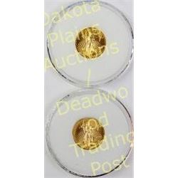 Collection of 2 Gold Eagle $5 coins dated 2004 and 2010.  Est. 150-300