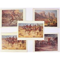 Collection of 5 vintage and signed prints by Nebraska artist Reynold Brown b. 1917 - d. 1991, each 9