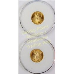 Collection of 2 Gold Eagle $5 coins dated 2005 and 2007.  Est. 150-300