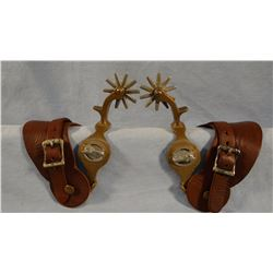 North & Judd anchor marked Hercules Bronze horsehead pattern spurs, 10 pt. rowels.
