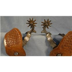 August Buermann star AB marked spurs w/ outstanding period stamped straps, 10 pt. rowels,