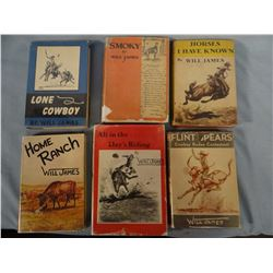 """6 Will James books, includes 1928 ed. Smoky in scarce dj with """"bookmark"""" dj. Also Lone Cowboy, Home"""