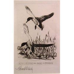 Bishop, Richard, 5 x 7, Ducks, Christmas, (signed etching)