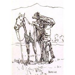 Bodily, Sheryl, pen & ink, 5 x 7  Cowboy Calf & Horse
