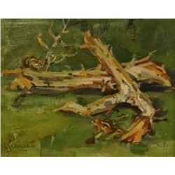 Schildt, Gary, 8 x 10, Camp Wood, 2 chipmunks (oil)