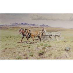 """Schock, Elmer, 2 Up Buckboard, watercolor , 12"""" x 18"""", 1972"""