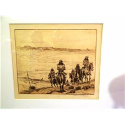 """Borein, Edward, (1872-1945), signed etching, 6 x 7,  """"war Party"""""""