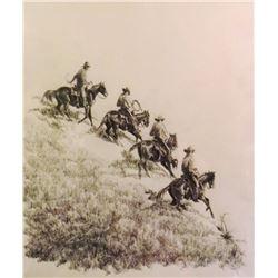 East, Barbara, 11 x 14, Four Horseman (pen & ink)