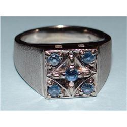 Yogo Sapphire men's ring, 5 rd brilliant Yogos, all .25 ct each, size 9 in 14 kt white gold