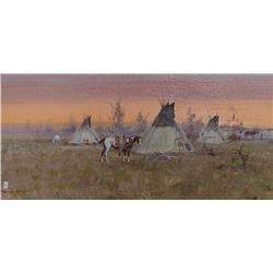 Powell, Ace,  8 x 16,Teepee with Horse (oil)