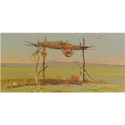 Powell, Ace, 6 x 12, Indian Burial (oil)