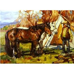 Schildt, Gary, 30 x 40, Work Team In Camp  (oil)