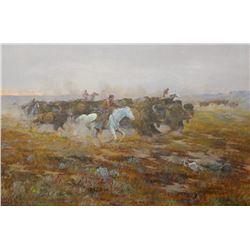 "Cheek, C. R., original oil, Sunrise Surprise, Buffalo Hunt, 24""x 36"", one of Cheeks best paintings."