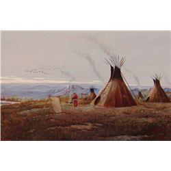 "Cheek, C. R., Fall Encampment On The Missouri, 24"" x 36"", oil on board"