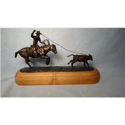 "Cheek, C. R., sculpture, Calf Roper, #20/75, 7"" h x 12"" w  (bronze)"