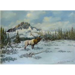 """Cuts The Rope, Clarence, original oil, The Challenger-Bull Elk, 1977, 14"""" x 18"""", excellent painting"""