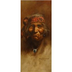 Sandoval, Tony,  6 x 12, Old One, portrait (oil)