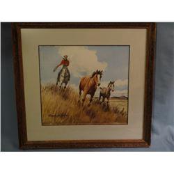 Long, Stanley (1892-1972), 10 x 12 Rider Herding Horses (watercolor)