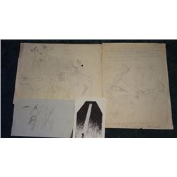 4 Will James original pencil and pen/ink drawings, all un-signed, un-framed, asstd. sizes,