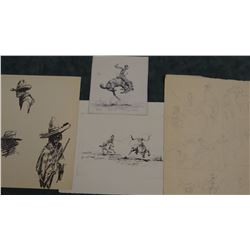 2 Will James original pencil and pen/ink drawings, un-signed, asstd. sizes, 2 prints, all un-framed